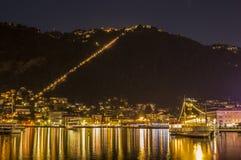 Luces en la noche en Como Fotos de archivo libres de regalías
