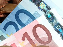 Luces euro Fotos de archivo libres de regalías