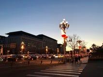 Luces hermosas de la opinión de la noche en la calle de Chang An imagen de archivo