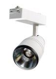 Luces LED, lámpara de la pista LED Iluminación de la oficina Lámpara blanca en un whi Imagen de archivo