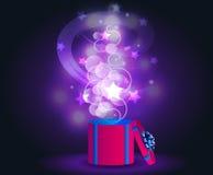 Luces mágicas que brillan intensamente Actual caja del VECTOR Imagen de archivo libre de regalías