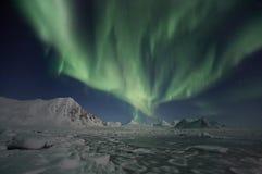 Luces norteñas - Spitsbergen Fotos de archivo