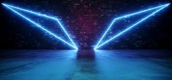 Luces púrpuras de neón del triángulo de Sci Fi Wing Abstract Shaped Glowing Blue en la pared de ladrillo del Grunge y el piso con ilustración del vector