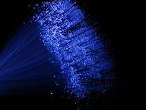 Luces ópticas azules de fibra Imágenes de archivo libres de regalías