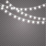 Luces que brillan intensamente por días de fiesta Guirnalda que brilla intensamente transparente Luces que brillan intensamente b Foto de archivo