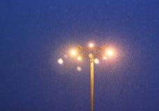 Luces que brillan intensamente y nieve que cae Fotografía de archivo libre de regalías
