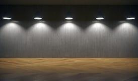 Luces que cuelgan en Front Of Concrete Wall Fotografía de archivo libre de regalías