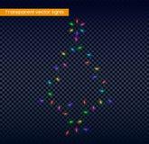 Luces trasnparent multicoloras del árbol de pino de la Navidad ilustración del vector