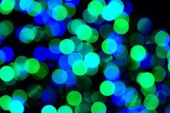 Luces verdes y azules de Bokeh imagen de archivo libre de regalías