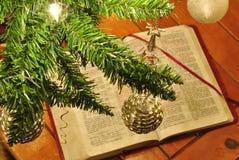 Luces y bolas del árbol de navidad del oro y de la plata Imagenes de archivo