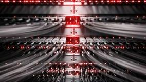 Luces y conexiones en el servidor de red representación de 4k 3d Foto de archivo libre de regalías