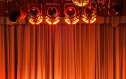 Luces y cortina de la etapa Foto de archivo