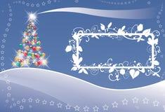 Luces y estrellas del árbol de navidad Imagen de archivo