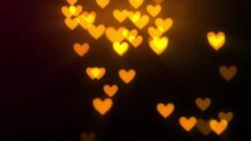 Luces y fondo de oro abstractos del corazón ilustración del vector