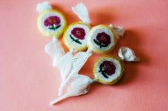 Lucettes colorées de fruit sur un fond rose, malsain mais le del Photos libres de droits