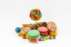Lucettes colorées et différent colorés autour de la sucrerie Vue supérieure photo libre de droits