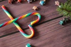 Lucettes de canne de sucrerie et branche d'arbre de Noël Image stock