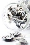 Lucettes noires sur le blanc Photographie stock