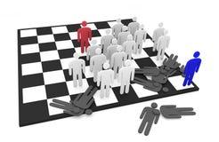 Lucha abstracta de dos equipos de los hombres en un tablero de ajedrez Fotografía de archivo libre de regalías