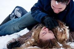 Lucha apasionada del invierno Imagen de archivo
