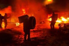 Lucha contra el fuego en la calle Grushevskogo Foto de archivo