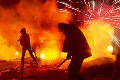 Lucha contra el fuego en la calle Grushevskogo Imagen de archivo libre de regalías