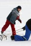 Lucha de la bola de la nieve Fotografía de archivo