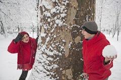 Lucha de la bola de la nieve Foto de archivo