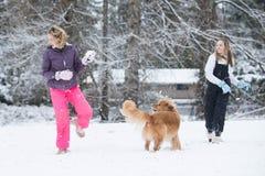 Lucha de la bola de nieve en invierno Imagen de archivo libre de regalías