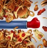 Lucha de la dieta de la aptitud Fotos de archivo