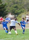 Lucha de los futbolistas del fútbol de la juventud para la bola Foto de archivo