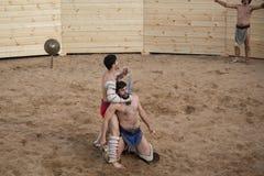 Lucha de los gladiadores Imagen de archivo libre de regalías