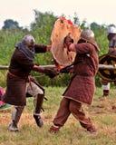 Lucha de los guerreros de Vikingo. Imagen de archivo libre de regalías