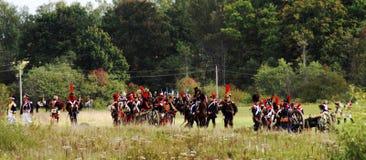 Lucha de los soldados en el campo de batalla Foto de archivo libre de regalías