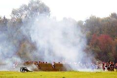 Lucha de los soldados en humo Foto de archivo libre de regalías