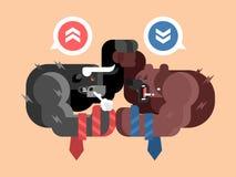Lucha de los toros y de los osos stock de ilustración