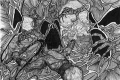 Lucha del bosque Imagen de archivo