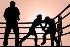 Lucha del boxeo de la silueta Fotos de archivo libres de regalías