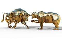 Lucha del oso y de toro, concepto de la bolsa de acción stock de ilustración
