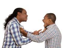 lucha Hombres enojados que gritan en uno a Fotos de archivo libres de regalías