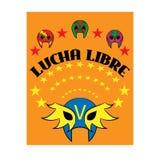 Lucha Libre - ισπανικό κείμενο πάλης - μεξικάνικη μάσκα παλαιστών - αφίσα Στοκ Φωτογραφίες