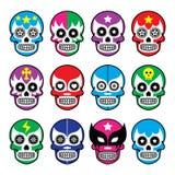 Lucha Libre - el cráneo del azúcar enmascara iconos Fotos de archivo libres de regalías