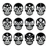 Lucha Libre - el cráneo mexicano del azúcar enmascara iconos negros ilustración del vector
