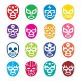 Lucha Libre, icone di Luchador, maschere lottanti del messicano royalty illustrazione gratis