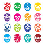Lucha Libre, Luchador icons, Mexican wrestling masks. Vector icons set of masks worn during wrestling fights in Mexico isolated on white Royalty Free Stock Images