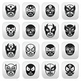 Lucha libre, luchador Mexican wrestling black masks buttons Royalty Free Stock Images