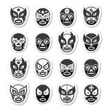 Lucha libre, luchador Mexican wrestling black masks icons Royalty Free Stock Image