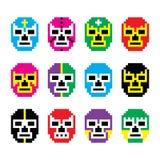 Lucha Libre, luchador pixelated iconos de lucha mexicanos de las máscaras ilustración del vector