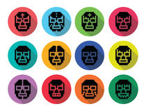 Lucha Libre, luchador pixelated Mexican wrestling masks black icons Royalty Free Stock Photos