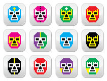 Lucha Libre, luchador pixelated Mexican wrestling masks buttons Royalty Free Stock Photos